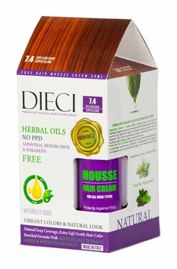 Dieci Natural Hair Color Cream Herbal Oils Amonyaksız 7-4 Orta Sarı Bakır