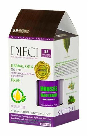 Dieci Natural Hair Color Cream Herbal Oils Amonyaksız 5-6 Açık Kestane Kızıl