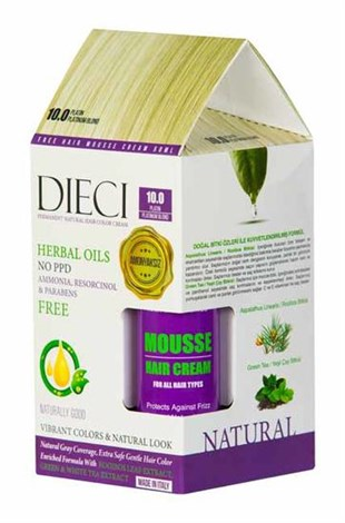 Dieci Natural Hair Color Cream Herbal Oils Amonyaksız 10-0 Platin