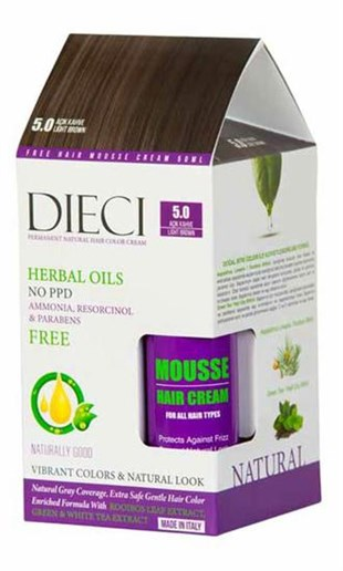 Dieci Natural Hair Color Cream Herbal Oils Amonyaksız 5-0 Açık Kahve