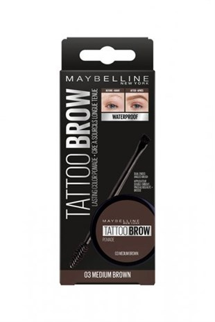 Maybelline New York Tattoo Brow Kaş Pomadı 03 Medium Brown Orta Ton